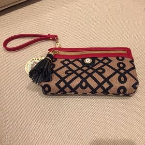Spartina Tassel Wristlet Red, Black, and Tan